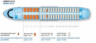 Аэробус а319 схема салона лучшие места уральские авиалинии